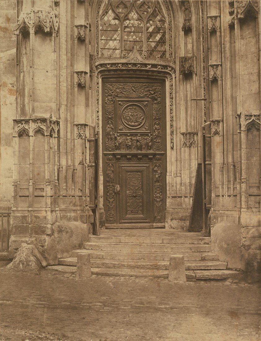4013: Bisson Frères: Side door of Église St. Maclou, Ro