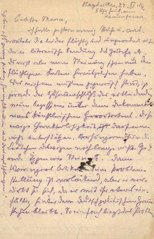 1503: Marc, Franz: Brief 1914