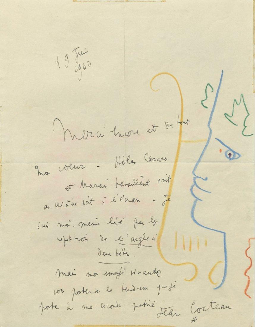 1809: Cocteau, Jean: Brief 1960 mit Farbstiftzeichnung