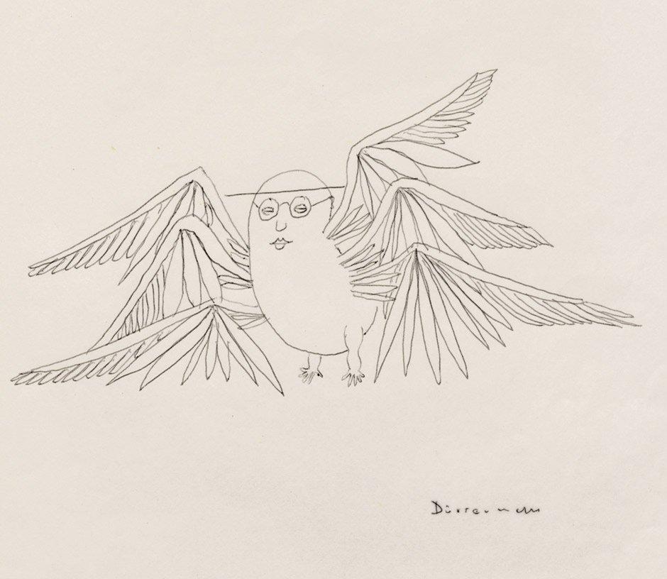 1812: Dürrenmatt, Friedrich: Signierte Selbstkarikatur