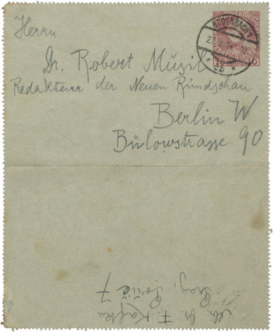 1839: Kafka, Franz: Brief 1914 an Robert Musil