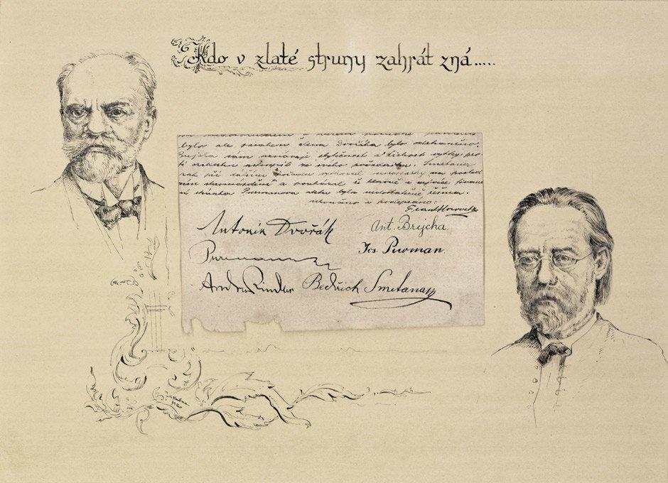 2106: Smetana, Friedrich:  Eigh. Unterschriften