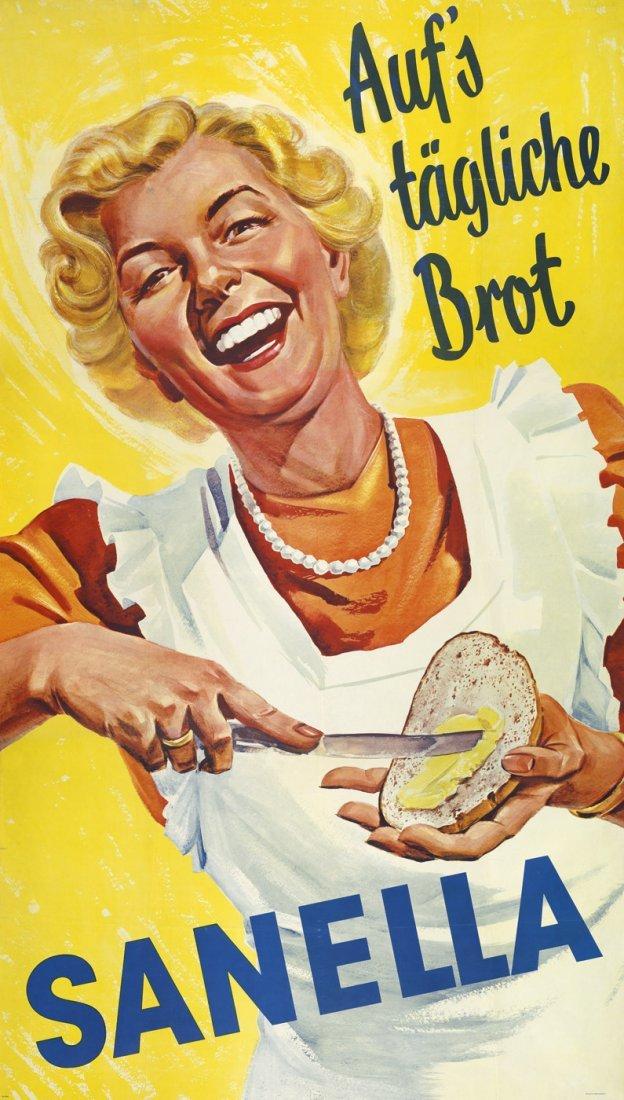 3789: Sanella Margarine: Plakat. Auf's tägl. Brot. Um 1 - 4