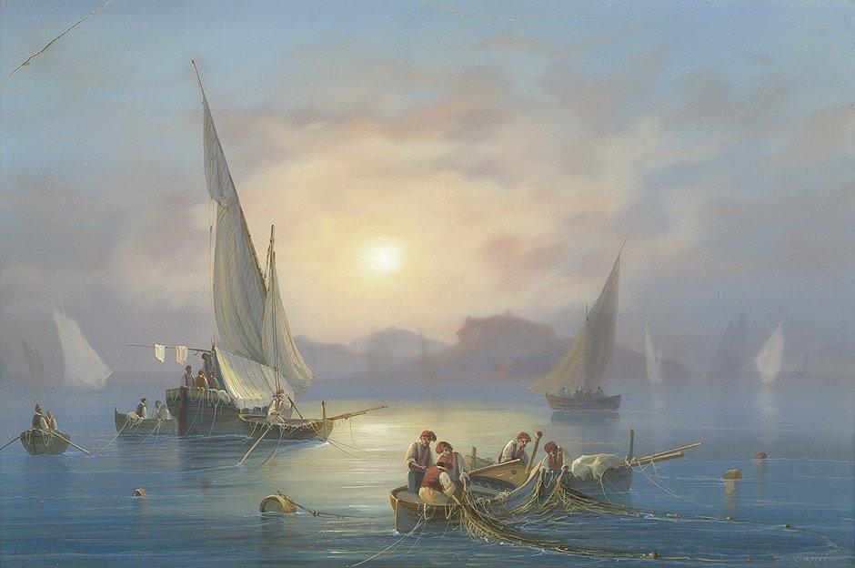 6421: La Pira, Gioacchino: Fischer vor Capri bei Sonnen