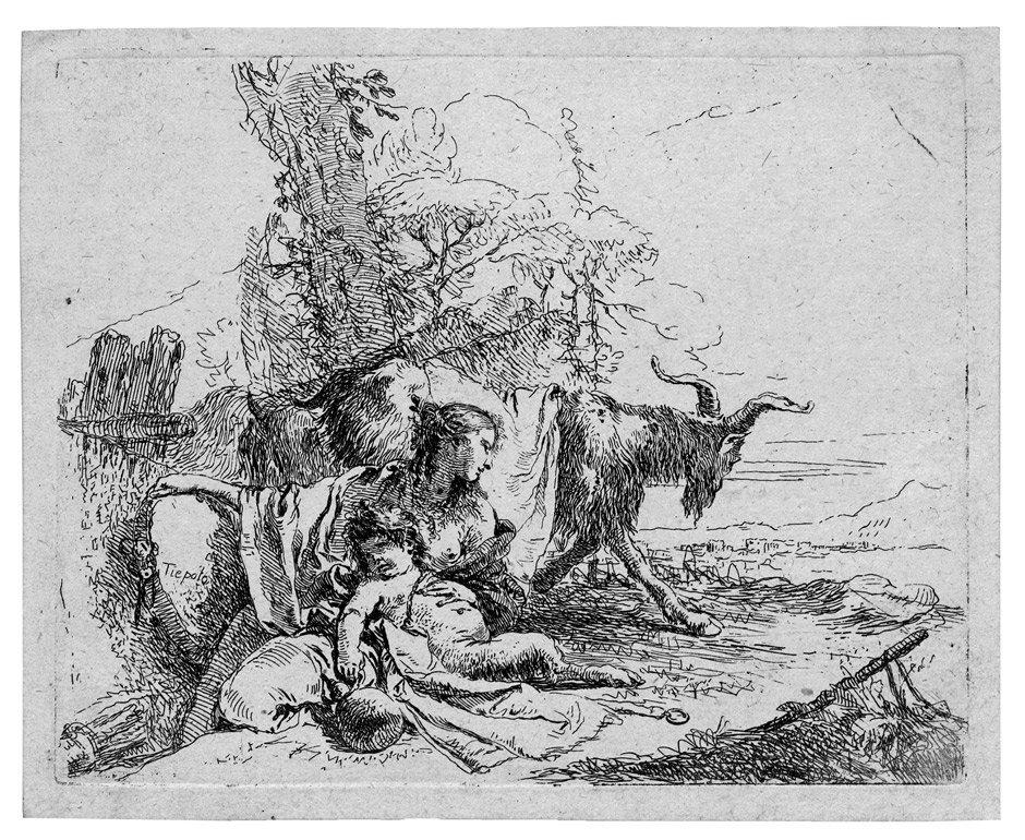5324: Tiepolo, Giovanni Battista: Nymphe mit kleinem Sa