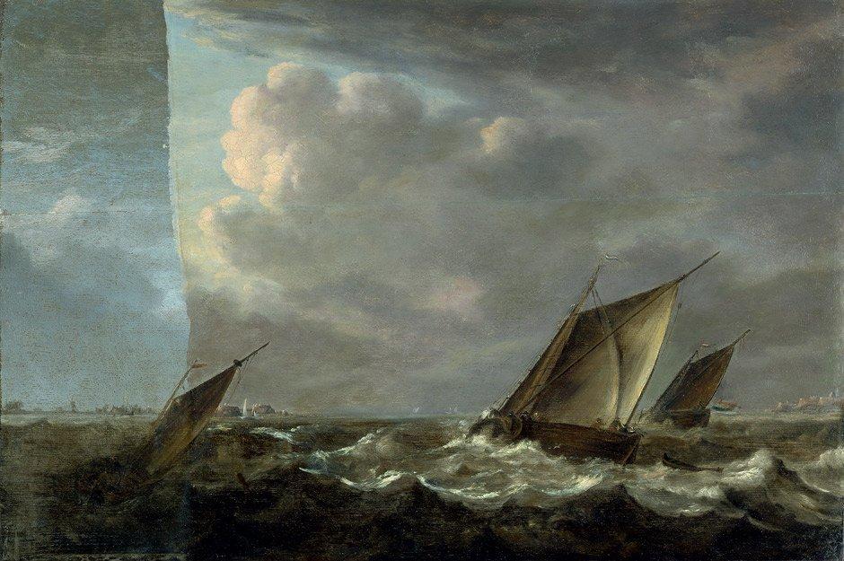 6021: Porcellis, Jan - Umkreis: Segelschiffe in rauher