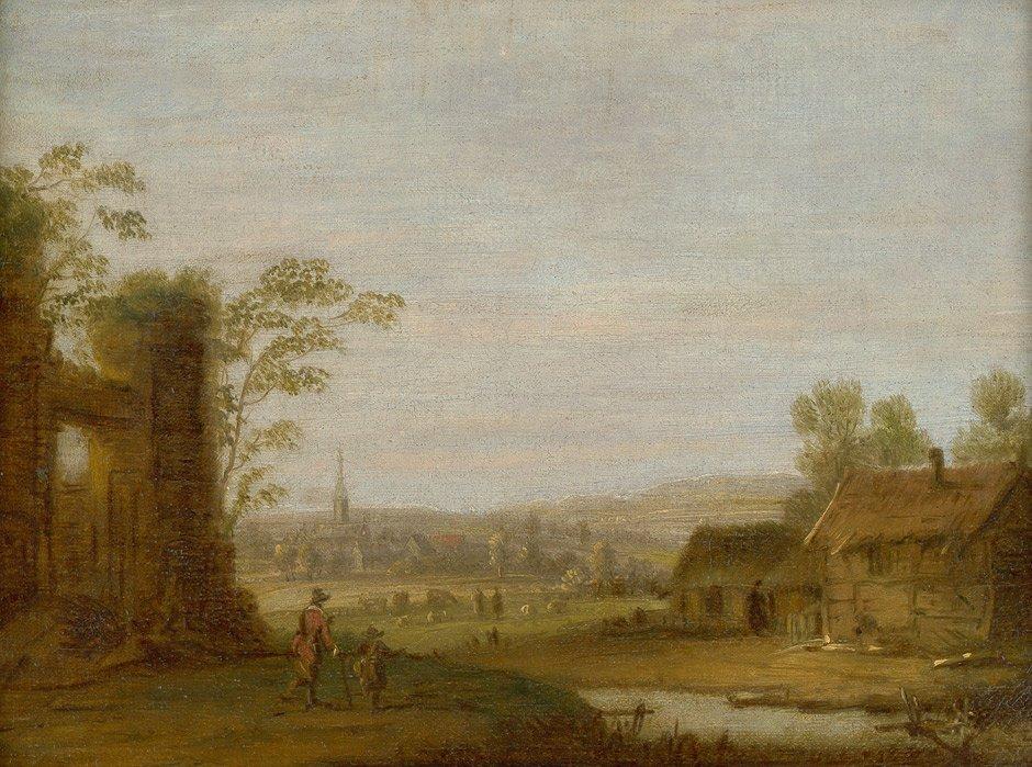 6023: Niederländisch - 17. Jh.: Landschaft mit Ruinen u
