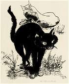 7185: Hegenbarth, Josef: Buckelnde schwarze Katze