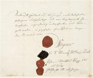 Goethe, Johann Wolfgang von: Signierter Vertrag 1773 in