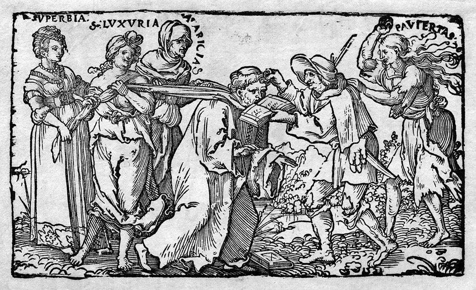 Beham, Hans Sebald: Allegorie auf das üppige Mönchtum