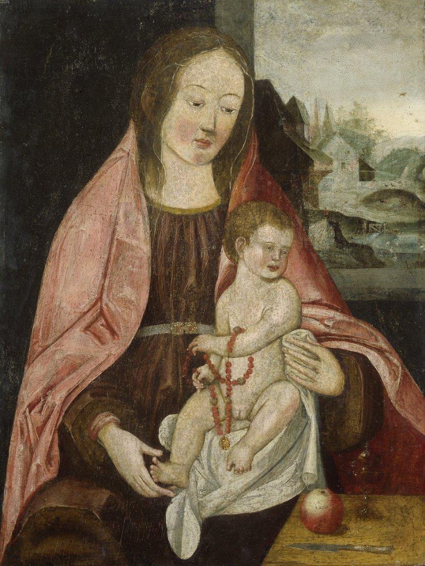 Süddeutsch - um 1520: Maria mit Kind vor einer Landscha