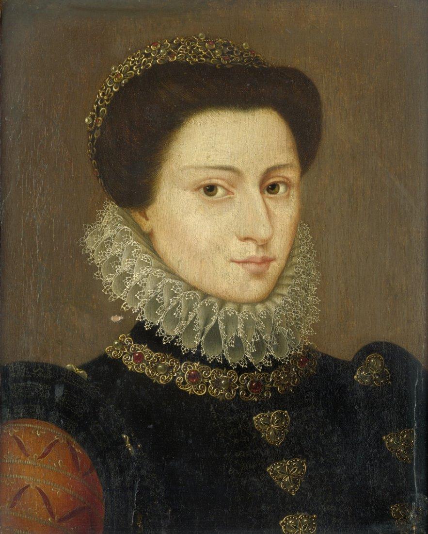 Französisch - um 1580: Adelige Dame mit Halskrause und