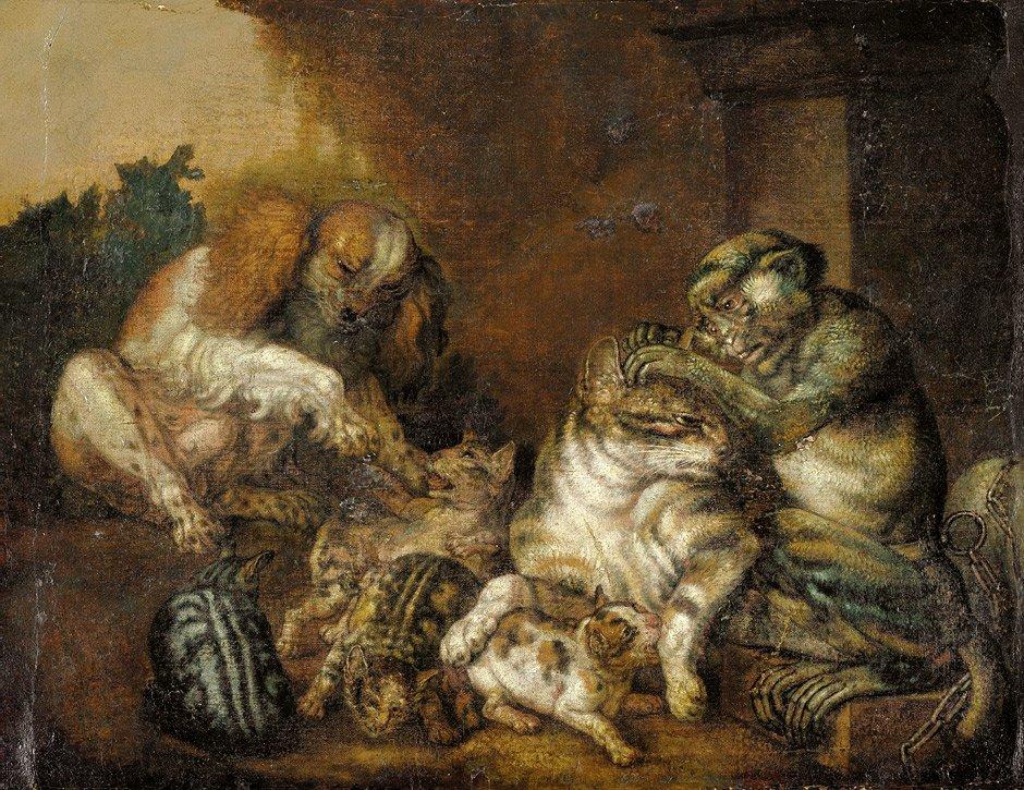 Niederländisch - um 1700: Katzenfamilie von einem Affen