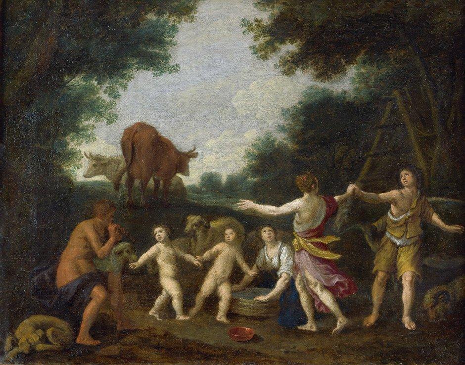 Flämisch - 17. Jh.: Tanzende Hirten in einer Waldlandsc