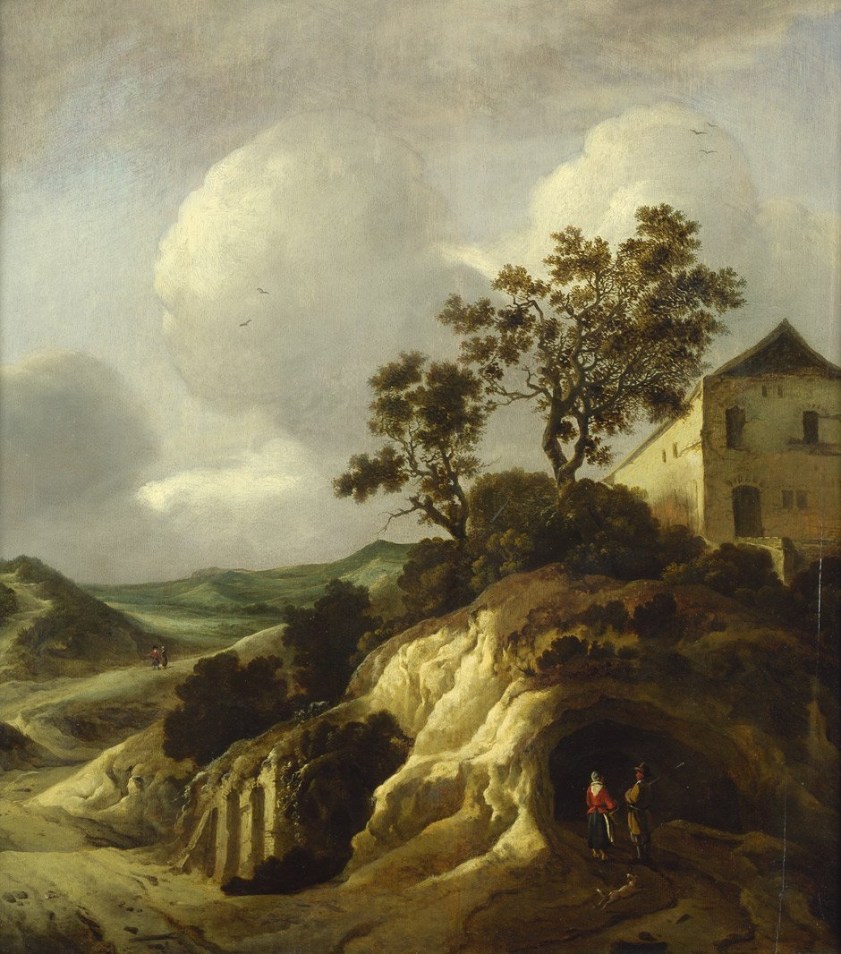 Wouwerman, Jan: Hügelige Landschaft mit Wanderern unter
