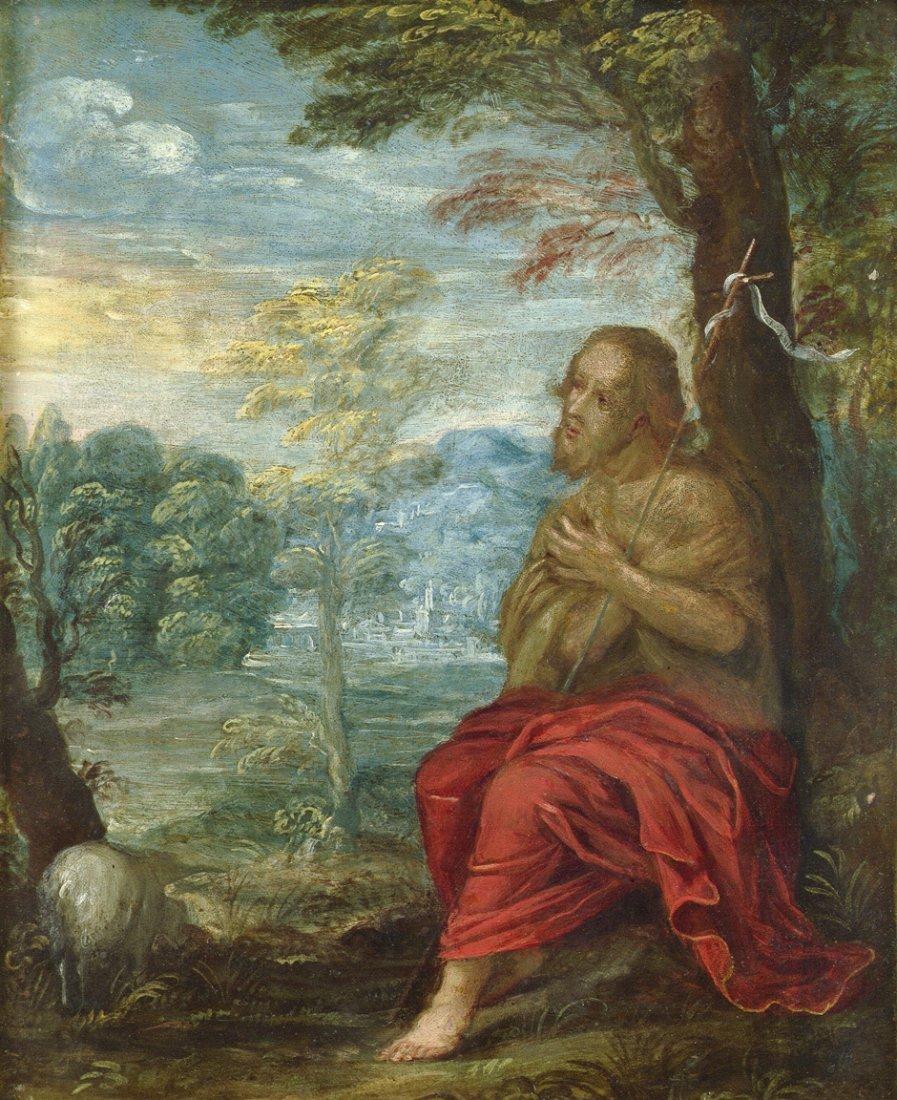 Niederländisch - um 1600: Der Heilige Johannes betend i