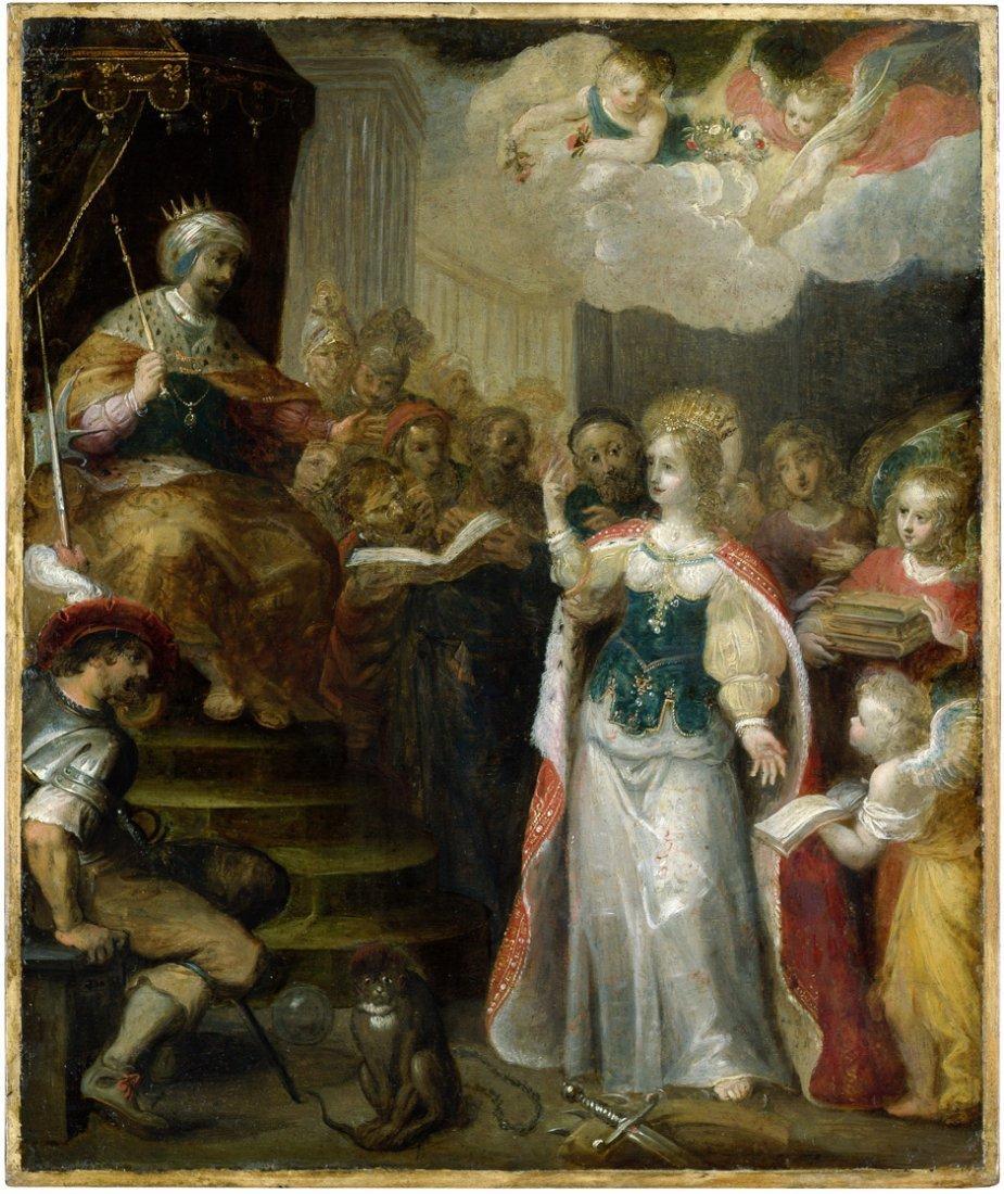 Antwerpener Schule: um 1630. Die hl. Katharina vor Kais