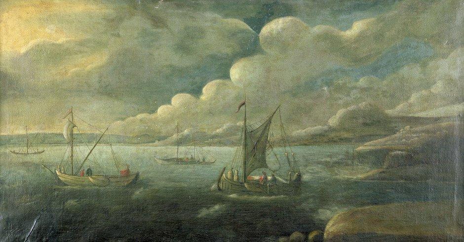 Niederländisch - um 1690: Fischerboote bei ruhiger See