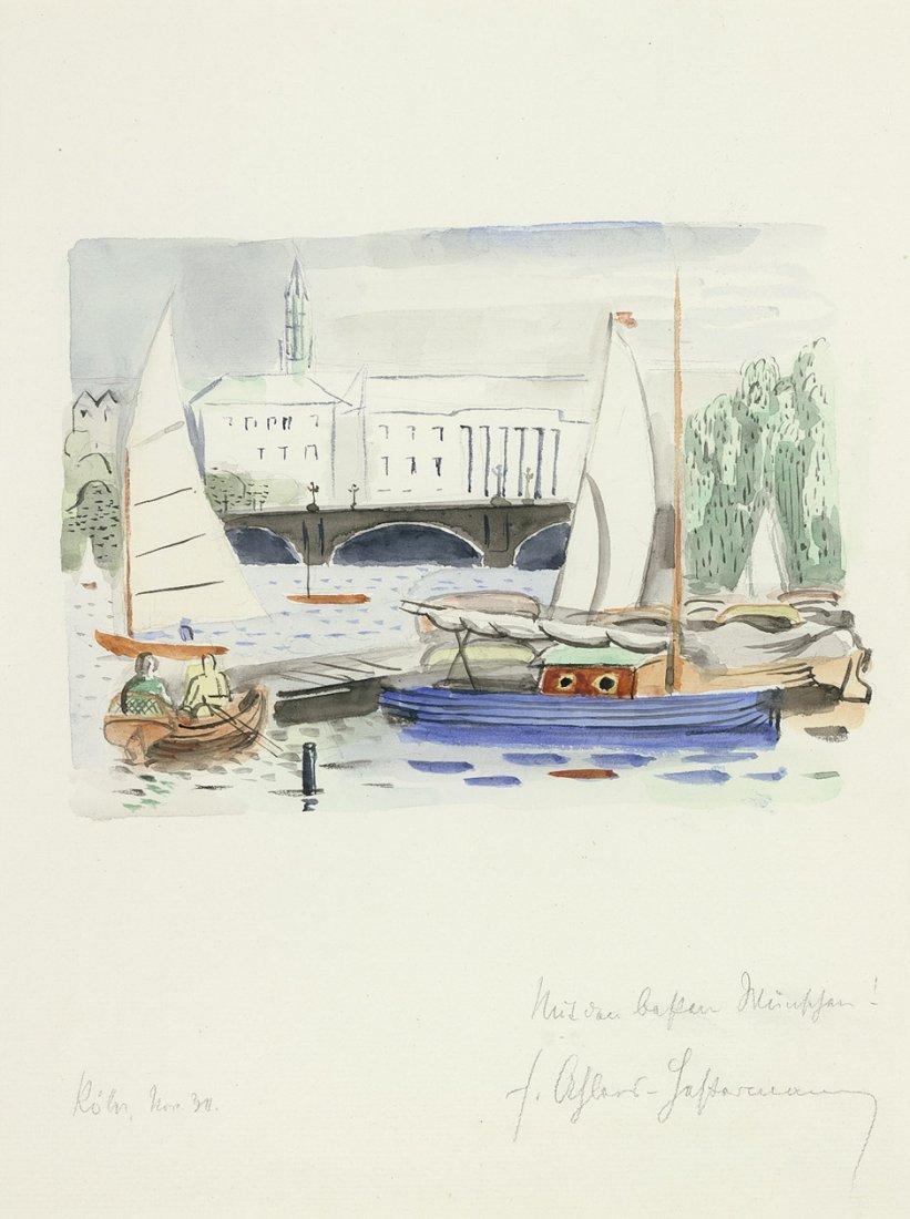 Ahlers-Hestermann, Friedrich: Boote am Steg (Blick auf
