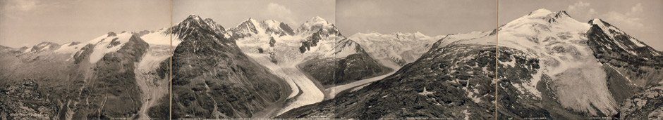 Alpine Views: Panoramic view from Fuorcla Surlej, of Ob