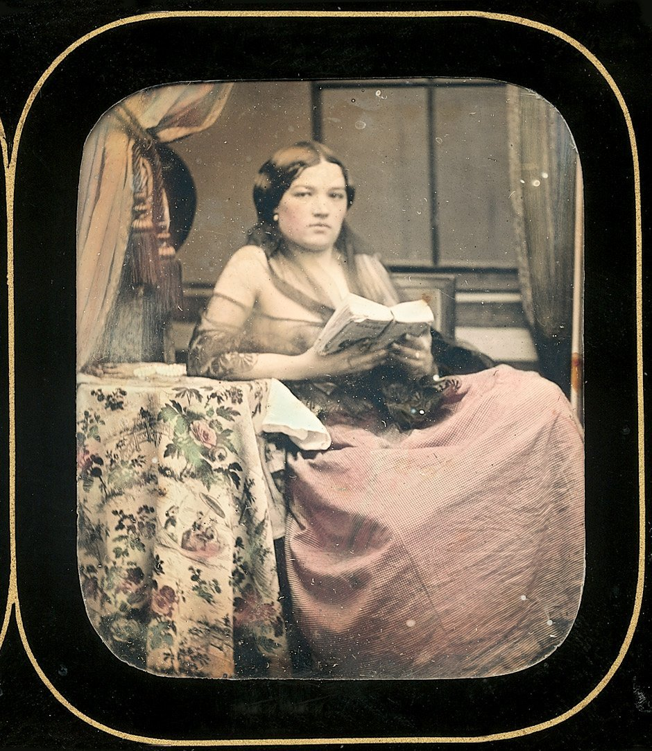 Daguerreotypes: Semi-nude woman reading