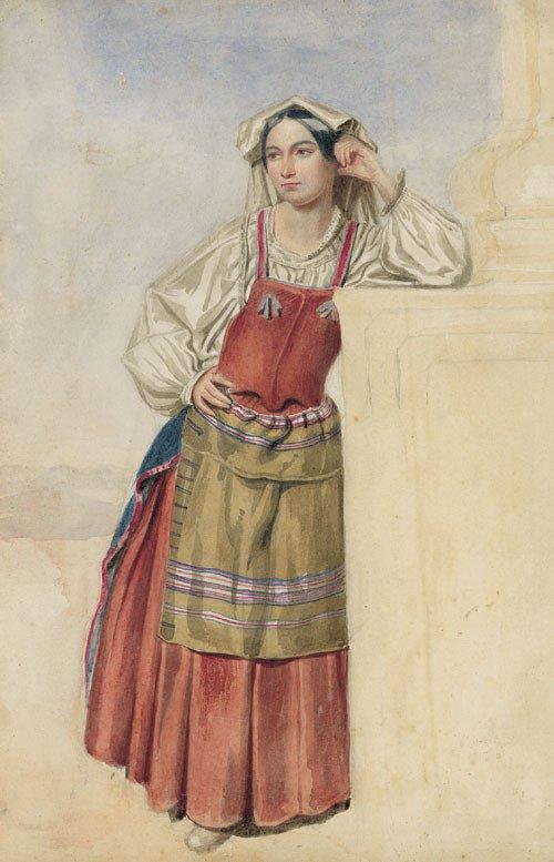5686: Brendel, Albert: Stehende Italienerin