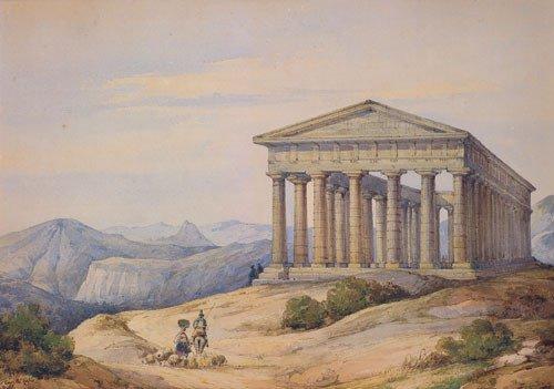 5691: Carelli, Consalvo: Ansicht des Tempels von Segest