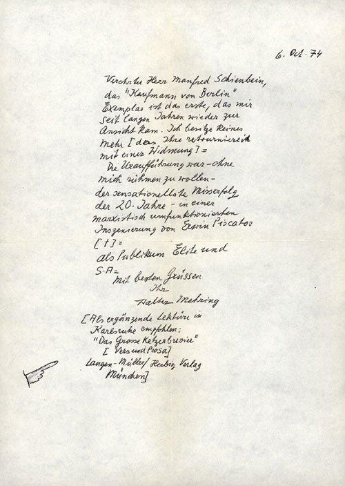 2040: Mehring, Walter: Brief + signierte Erstausgabe