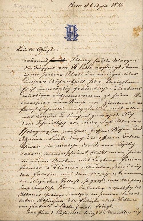 2178: Moltke, Helmuth Graf von: Brief 1876