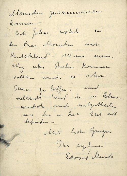 2230: Munch, Edvard: Brief in deutscher Sprache