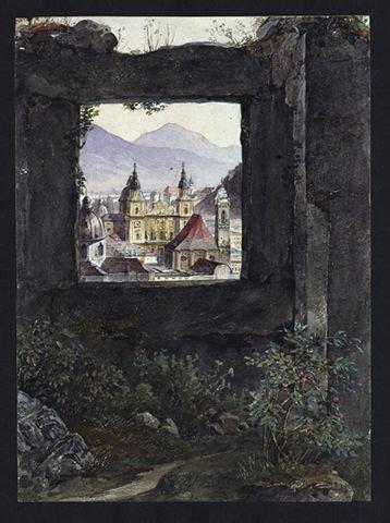 5643: Barbarini, Franz: Blick auf Salzburg mit der Domf