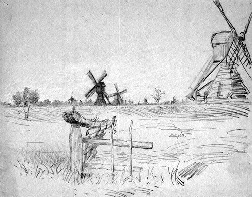 5648: Brendel, Albert Heinrich: Landschaft mit Windmühl