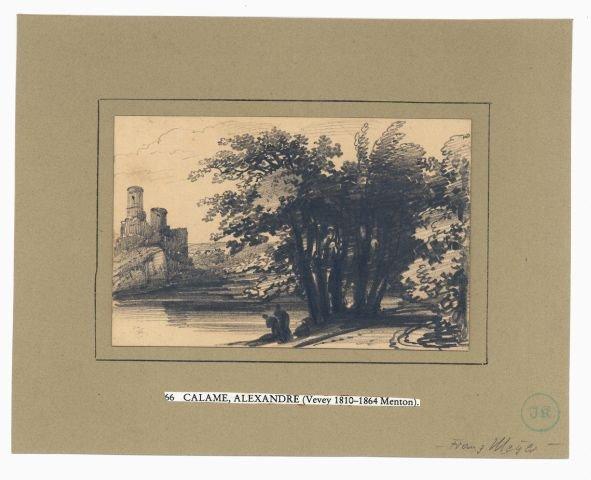 5650: Calame, Alexandre: Landschaft mit Burg im Hinterg