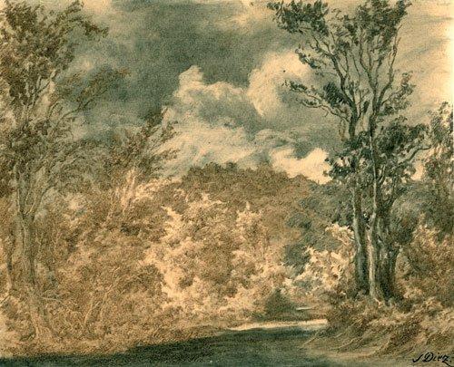 5659: Diez, Julius: Flußpartie mit Waldlandschaft