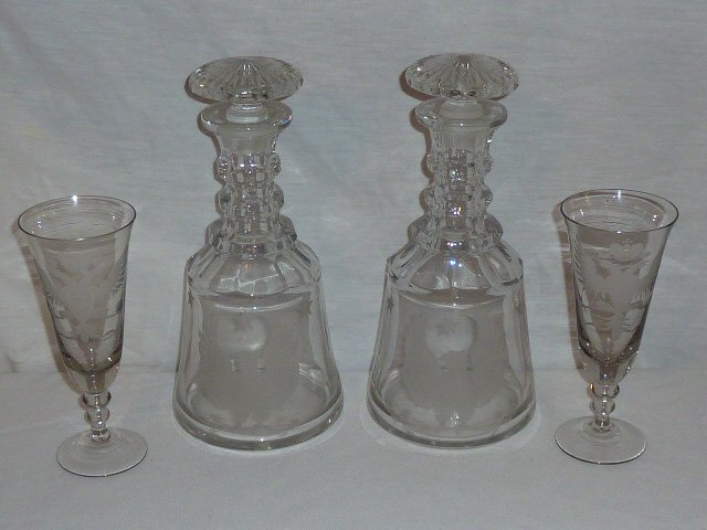 PR. CRYSTAL DECANTERS DOUBLE HEADED EAGLES 2 GLASSES - 7