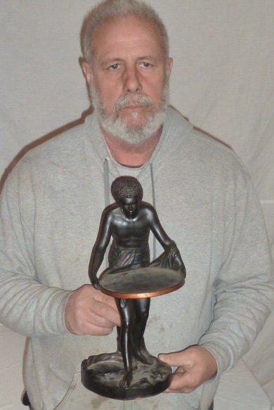 SIGNED TERRACOTTA SCULPTURE , SLAVE HOLDING TRAY