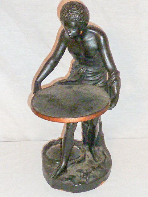 SIGNED TERRACOTTA SCULPTURE , SLAVE HOLDING TRAY - 2