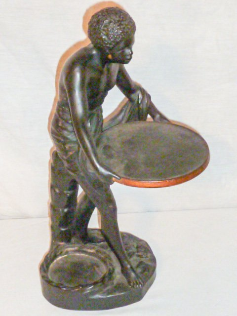 SIGNED TERRACOTTA SCULPTURE , SLAVE HOLDING TRAY - 4