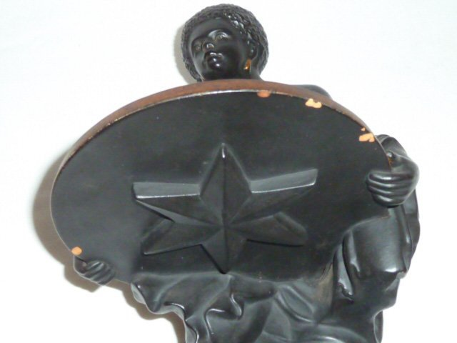 SIGNED TERRACOTTA SCULPTURE , SLAVE HOLDING TRAY - 6