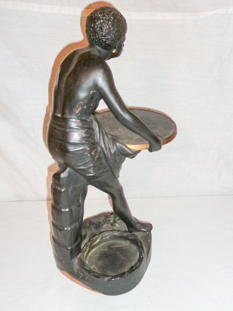 SIGNED TERRACOTTA SCULPTURE , SLAVE HOLDING TRAY - 8