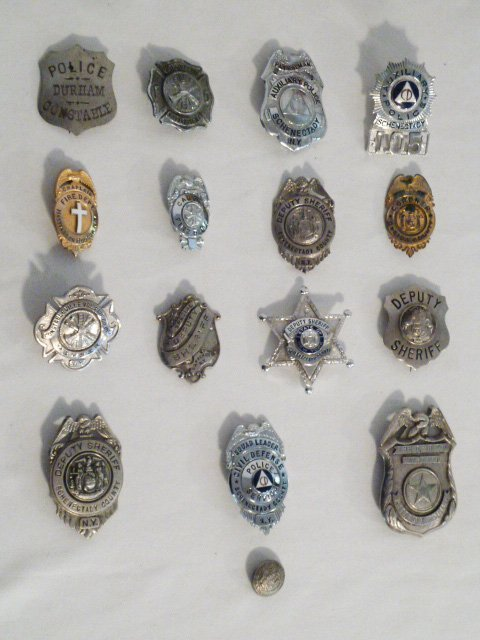 COLLECTION OF VINTAGE BADGES FIRE, DEPUTY SHERIFF ETC.