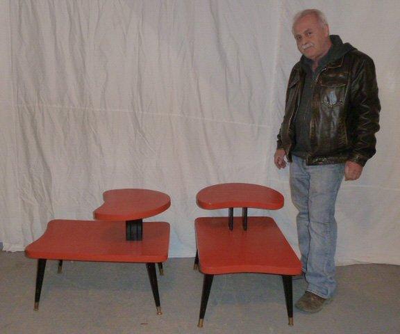 PR MID-CENTURY STEP TABLES ORIG ORANGE & BLACK