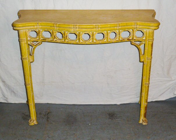 CHINESE CHIPPENDALE STYLE CONSOLE TABLE YELLOW PAINT