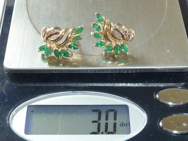 14KT GOLD EARRINGS W/ NATURAL EMERALDS & DIAMONDS - 4