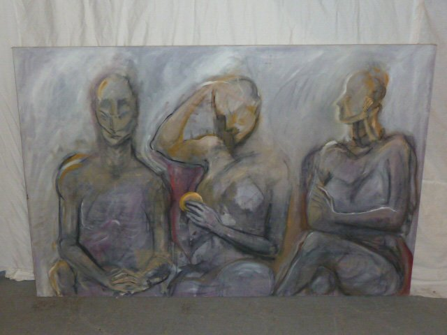 MIKE MAY 1974 OIL ON CANVAS ABSTRACT OF THREE FIGURES - 7