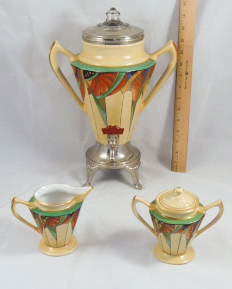 ROYAL ROCHESTER MODERNISTIC COFFEE POT SUGAR & CREAMER - 10