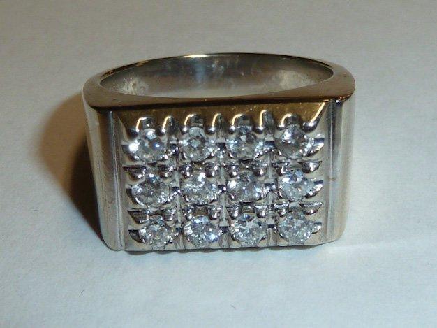 14KT MEN'S RING 12 DIAMONDS RECTANGULAR PATTERN