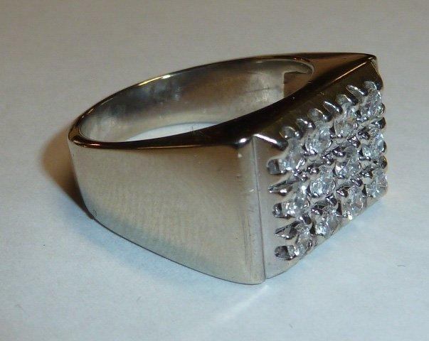 14KT MEN'S RING 12 DIAMONDS RECTANGULAR PATTERN - 2