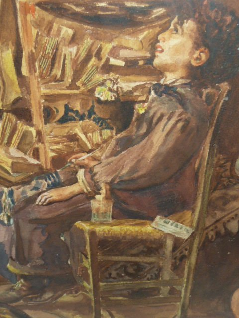 MARIO ROSSI GOUACHE OF YOUNG BOY IN CHAIR