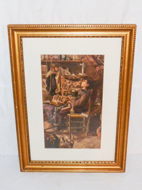 MARIO ROSSI GOUACHE OF YOUNG BOY IN CHAIR - 2